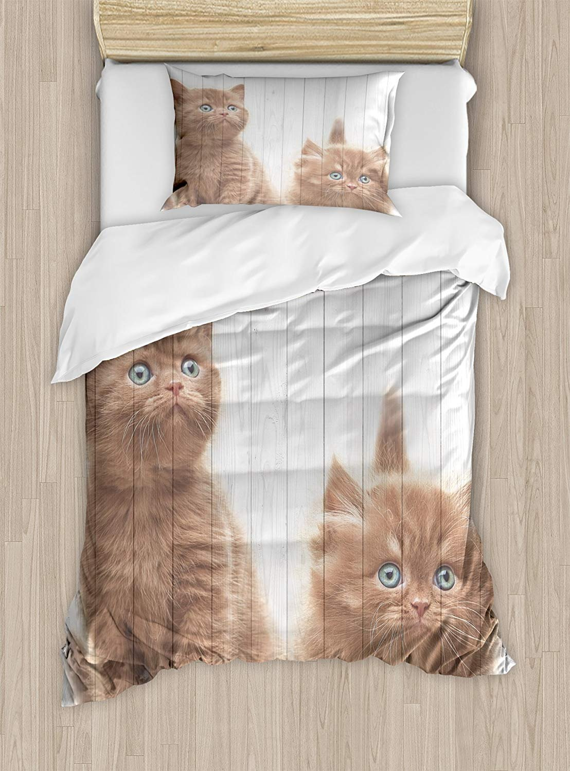 Twin XL Extra Long Bedding Set, Animal Duvet Cover Set, Cute Kittens Baby Cats Sweet Feline Kids Nursery Child Kitty Theme Artwork Print, Cosy House Collection 4 Piece Bedding Sets