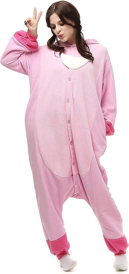 FZH Sleepwear Kigurumi Adult Pink Gloomy Bear Onesies Cartoon Pajamas Animal Halloween Party Costume Jumpsuits Hooded Pyjamas Suit Outfit
