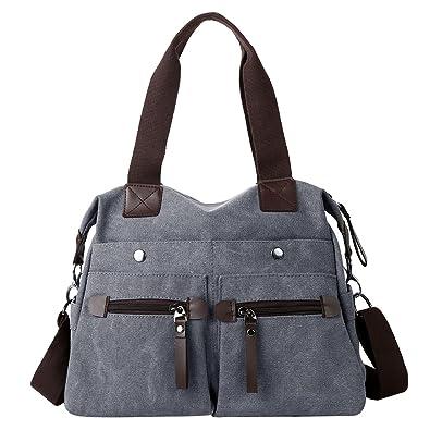5a79d40ab8370 Eshow Damen Canvas Reise Täglich Schultertasche Handtasche Taschen  Umhängetasche Shopper