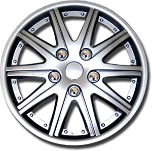 TuningPros WSC-027S14 - Pack of 4 Hubcaps - 14-Inches Style Snap-On (Pop-On) Type Metallic Silver Wheel Covers Hub-caps