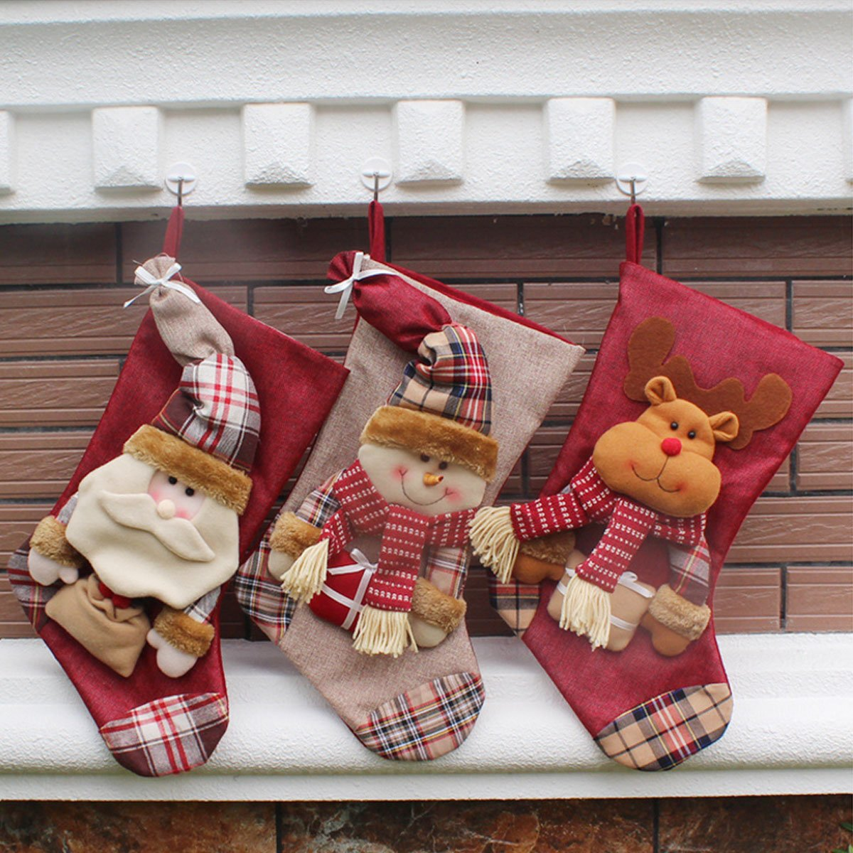 Christmas Stocking, SMTHOME 18'' Set of 3 Santa, Snowman, Reindeer, Xmas Character 3D Plush with Faux Fur Cuff Christmas Decorations and Party Accessory(Long hat)