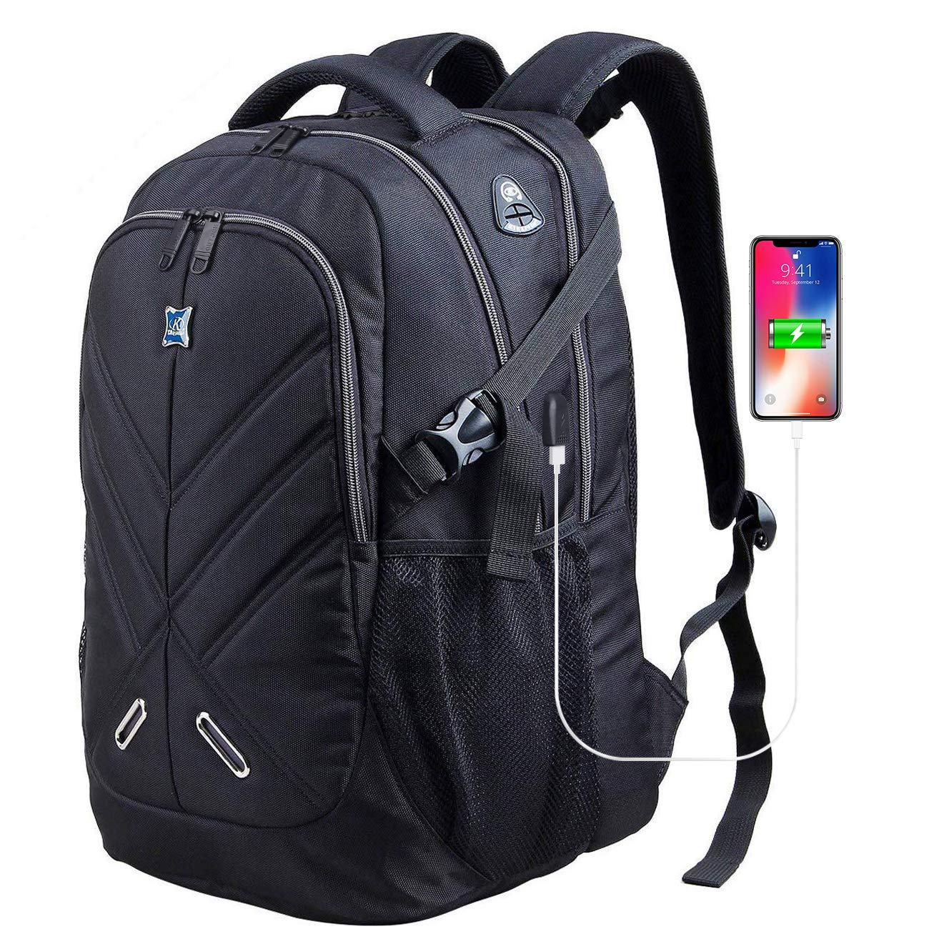 08c820f75306 OUTJOY Laptop Backpack for Men Women Waterproof School Backpack Shockproof  Computer Backpack Fits 17 Inches Laptops with Rain Cover+USB Charging ...