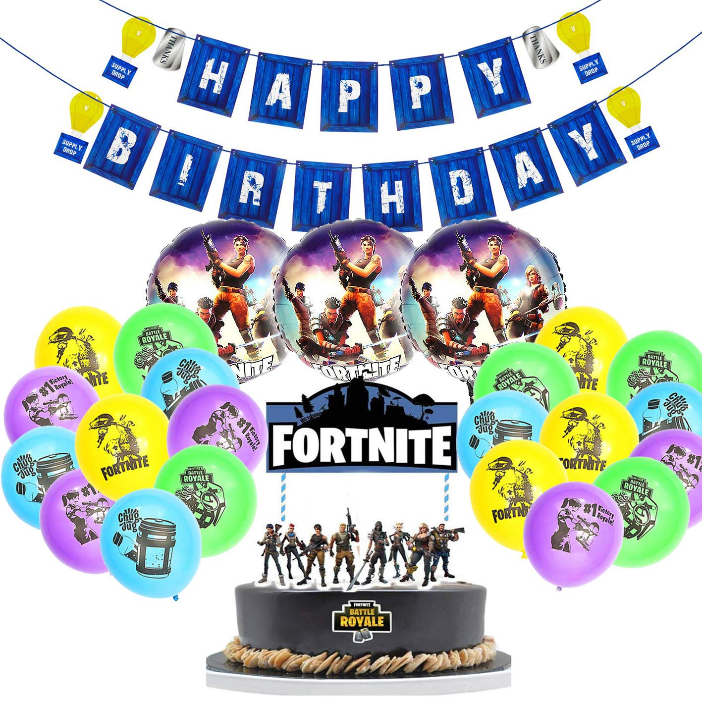 Amazon CATTA Birthday Cake Topper Gamer Party Banner Balloon Decoration Favor Aluminum Silicone Balloons 25 Pack Toys