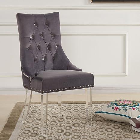 Armen Living Gobi Dining Chair In Grey Velvet And Acrylic Finish