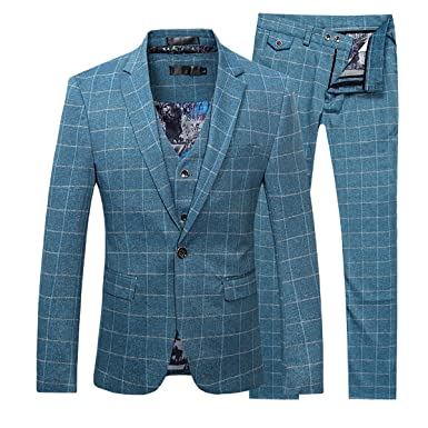2705700d133e20 Men's Plaid Modern Fit 3-Piece Suit Blazer Jacket Tux Vest & Trousers, Blue