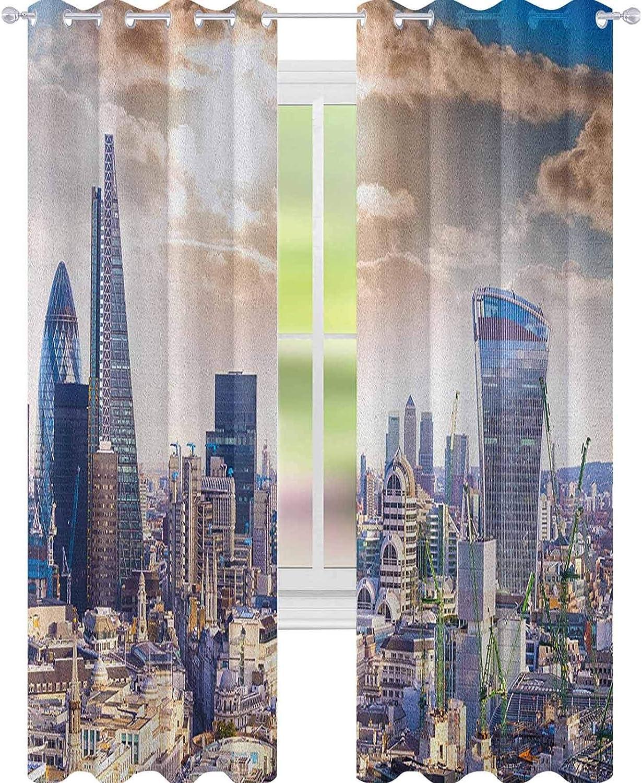 YUAZHOQI City - Cortina opaca con aislamiento térmico, diseño de arquitectura famosa en Inglaterra, color azul y blanco