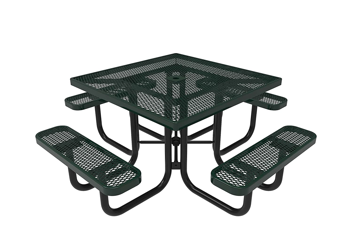 Amazon com coated outdoor furniture tsq grn top square portable picnic table 46 inch green garden outdoor