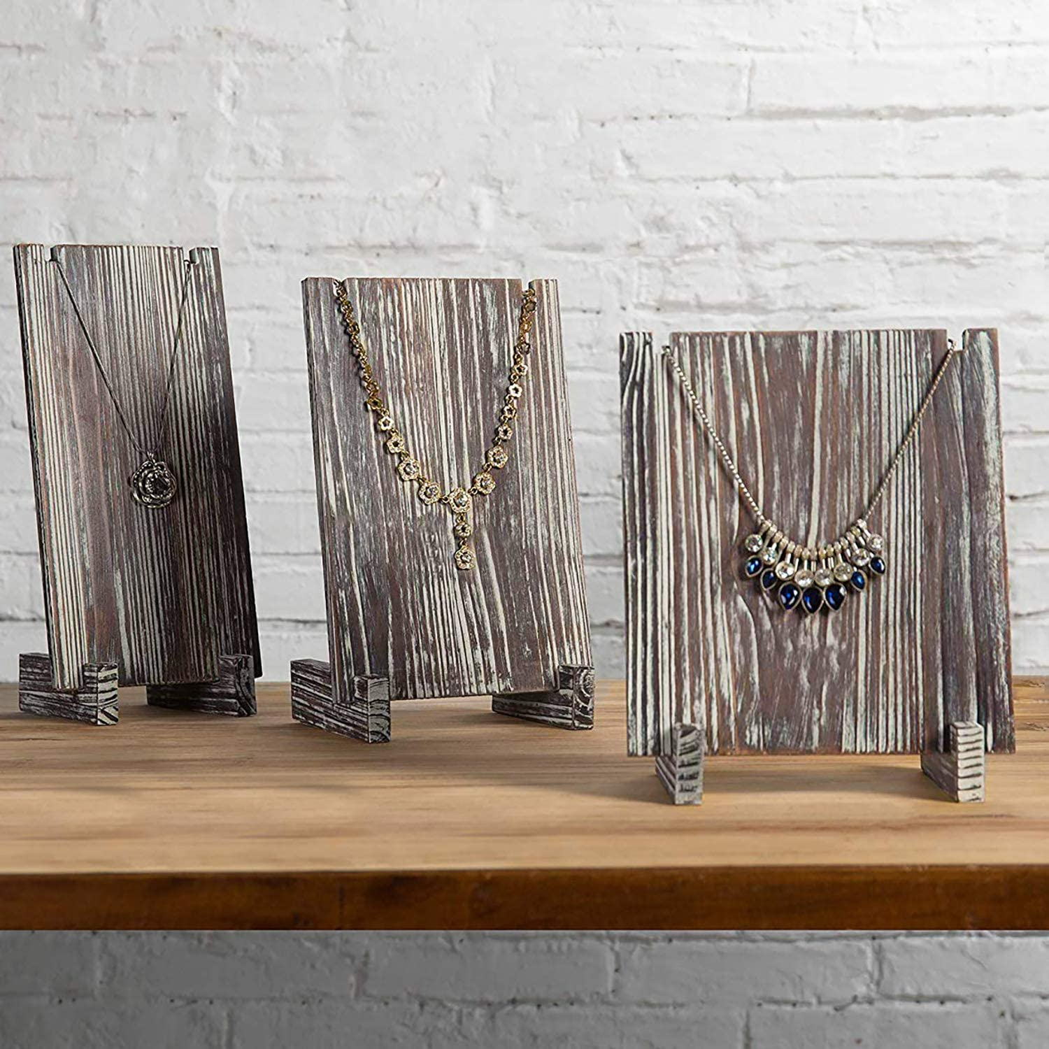 MyGift Set of 3 Rustic Torched Wood Jewelry Tower, Retail Necklace Display Plank