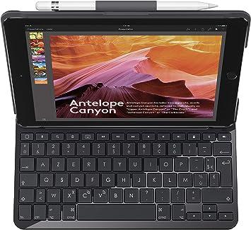 Logitech Slim Folio Funda para iPad con Teclado Bluetooth, iPad 5a & 6a Generation (A1893, A1954, A1822, A1823), 14 Teclas de Acceso Directo de iOS, ...