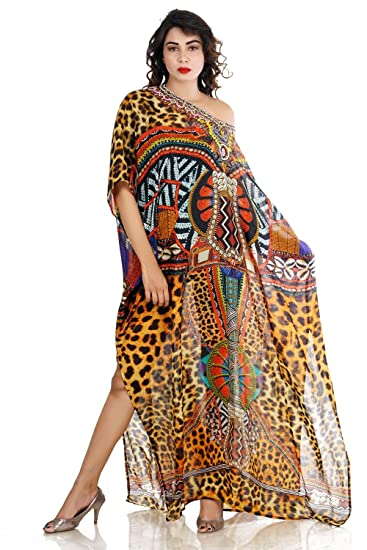 e93ac6078f12 Image Unavailable. Image not available for. Color  Silk kaftan Animal Print  Full Length Jeweled Kaftan Dress Womans Kaftan Beach ...