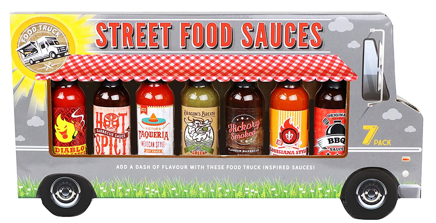 Thoughtfully Gifts, Street Food Sauces Hot Sauce and BBQ Gift Set, Flavors Include: Diablo Wings Sauce, Mexican Style, Louisiana Style Wing, Original BBQ and More!