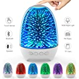 Aiscool Night Light Bluetooth Speaker, 3D Glass Touch Control Bedside Table Lamp 7-Color LED Portable Wireless Speakers, Rech