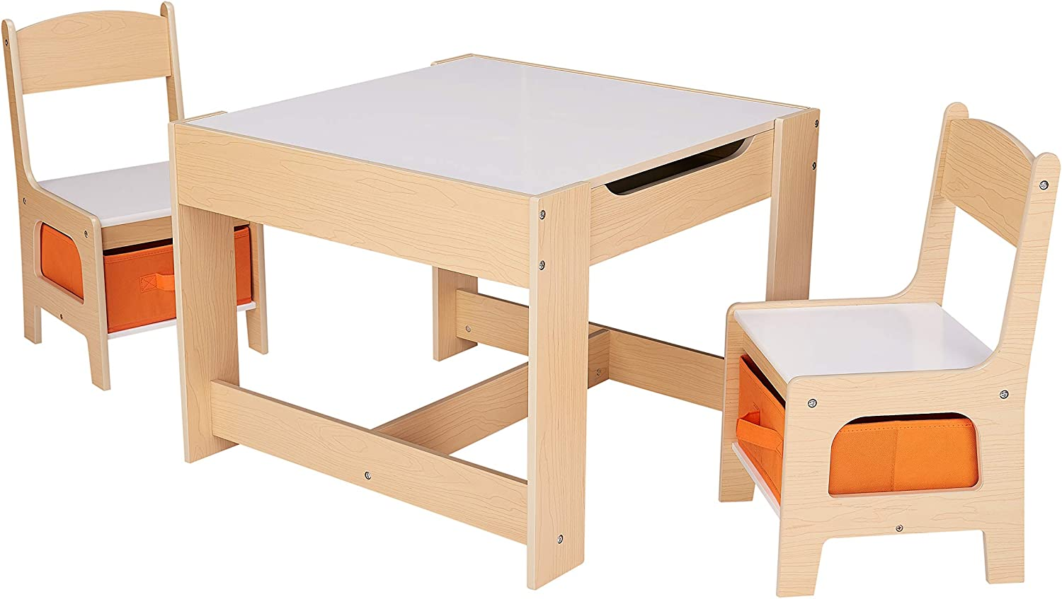 Brown by Michael Trunnell Kids Wooden Storage Table and Chairs Set 3 Piece