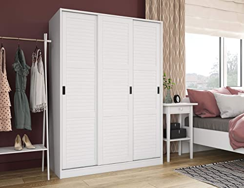 Palace Imports 100 Solid Wood Wardrobe with 3 Sliding Louvered Doors, White. 5 Shelves Included. Additional Large Shelves Sold Separately.