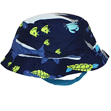 52f2dc1898e Image Unavailable. Image not available for. Color  Carter s Reversible Shark  Solid Navy Blue Bucket Sun Hat ...