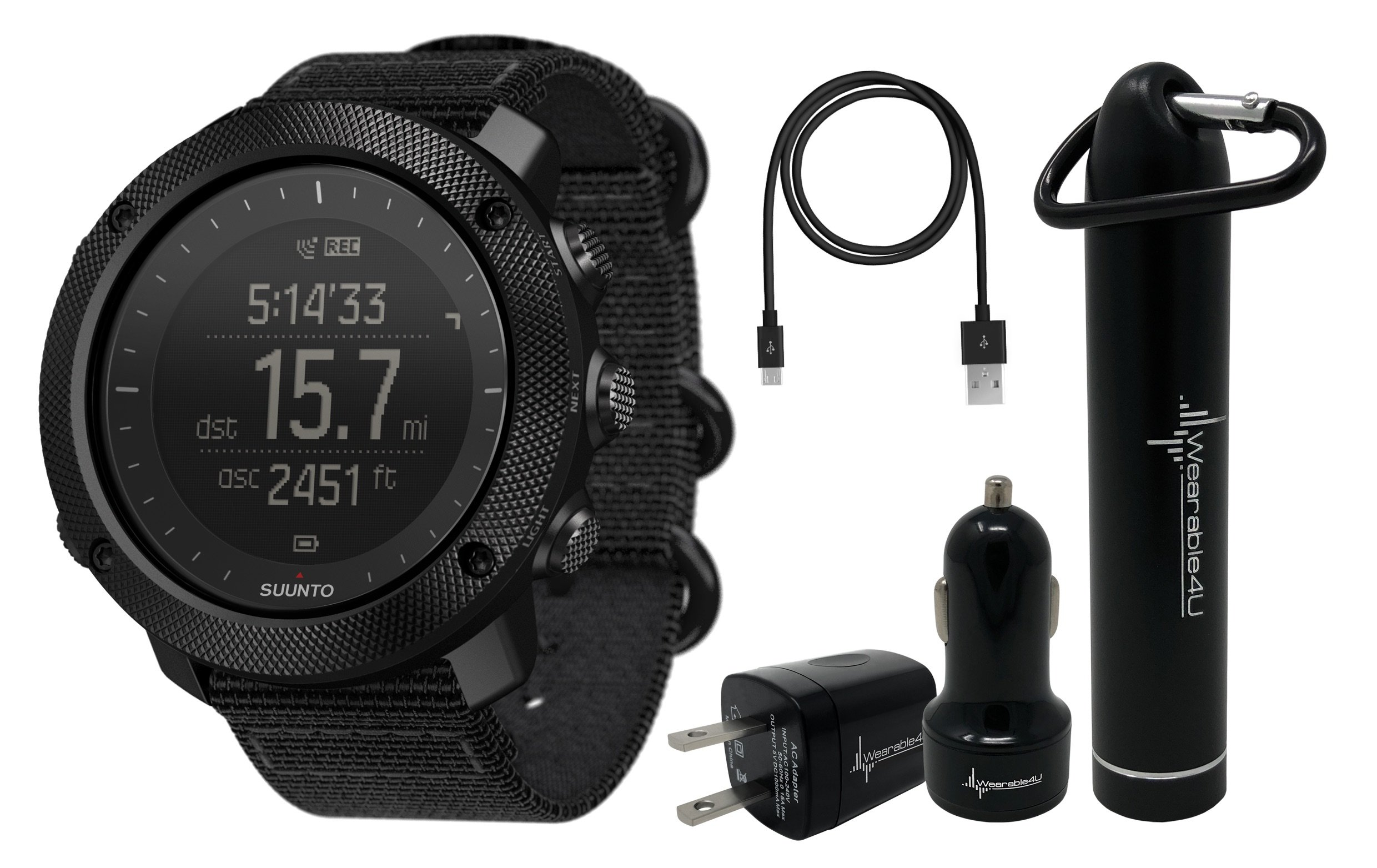 Suunto Traverse Alpha GPS/GLONASS Watch with Versatile Outdoor Functions for Fishing and Hunting and Wearable4U Ultimate Power Pack Bundle (Stealth)