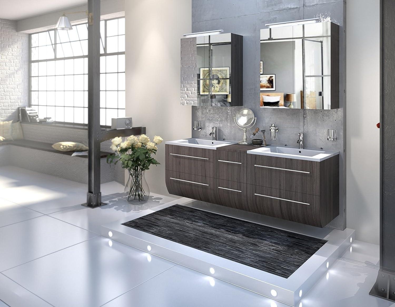Bad11® - Badmöbelset ZESIRO - Farbton Trüffeleiche Holzoptik matt, mit Doppelwaschbecken und 2 x Spiegelschrank, Waschtisch unten abgerundet, Farbauswahl