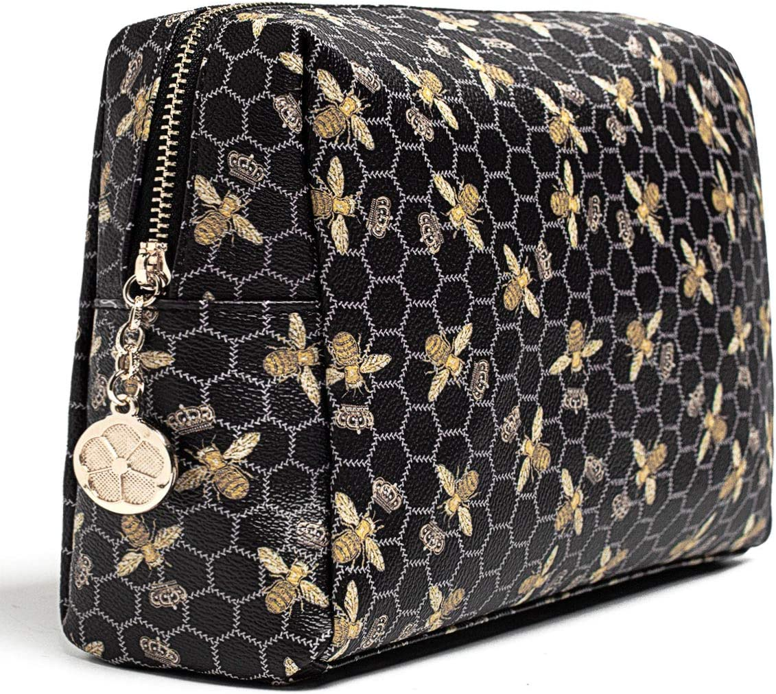 Luxury Makeup Bag for Purse Large Women Cosmetic Bags for Toiletry Travel (Black)