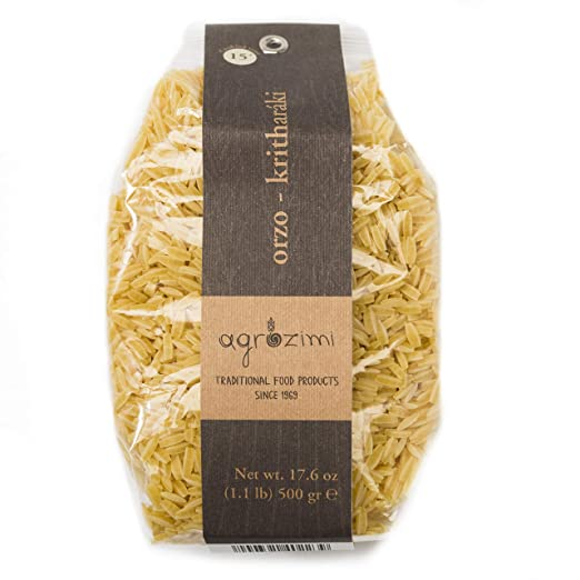 Agrozimi - Traditional Orzo (Kritharáki) - Artisanal Greek Egg and Milk Pasta - Bronze Die Cut & Naturally Air Dried - 500g/17.6 oz