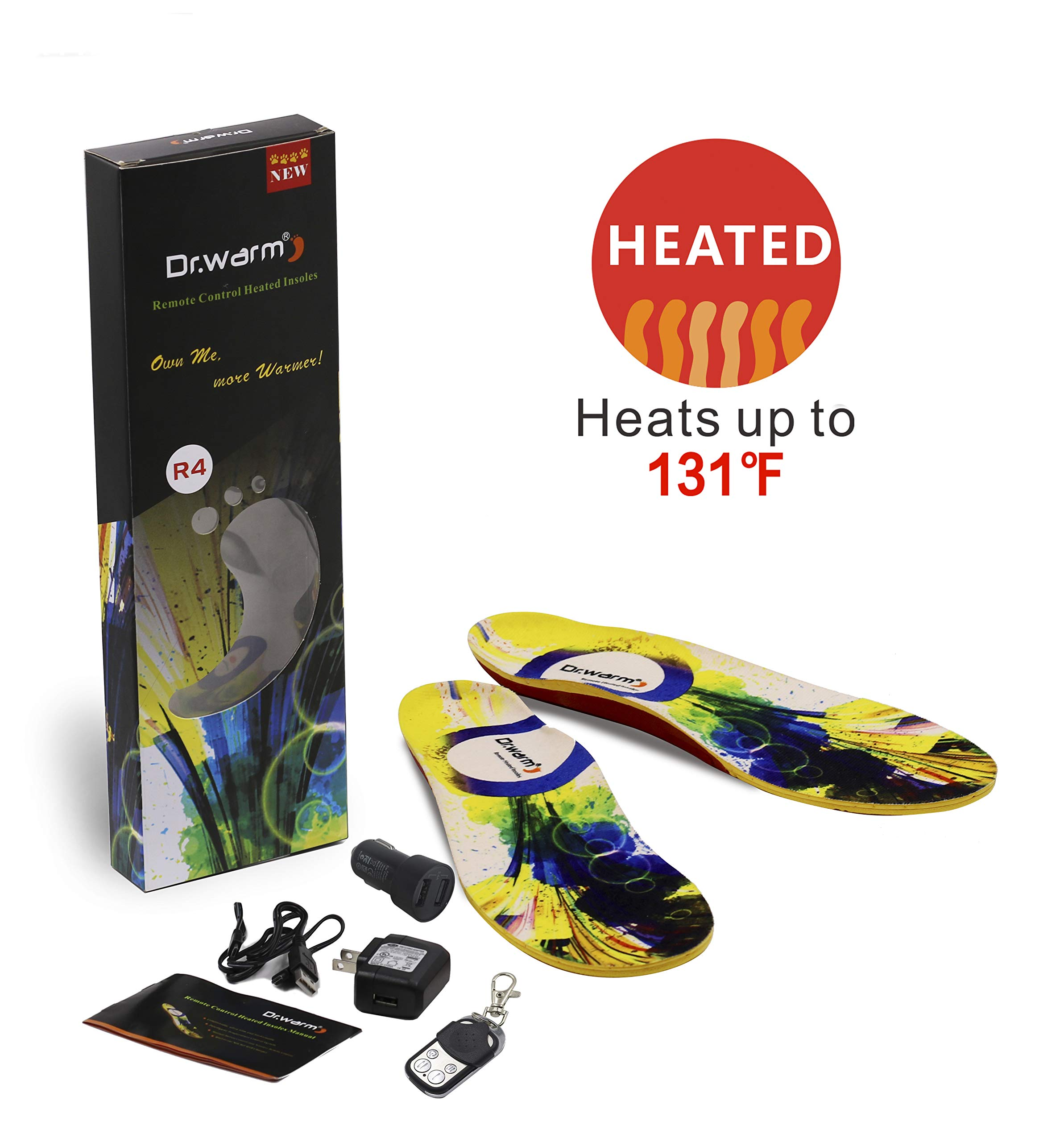 Dr.warm Heated Insoles Rechargeable Battery Heated Insoles with Car Charger Wireless Remote Control Foot Warmer for Hunting Fishing Hiking [L] by Dr.warm