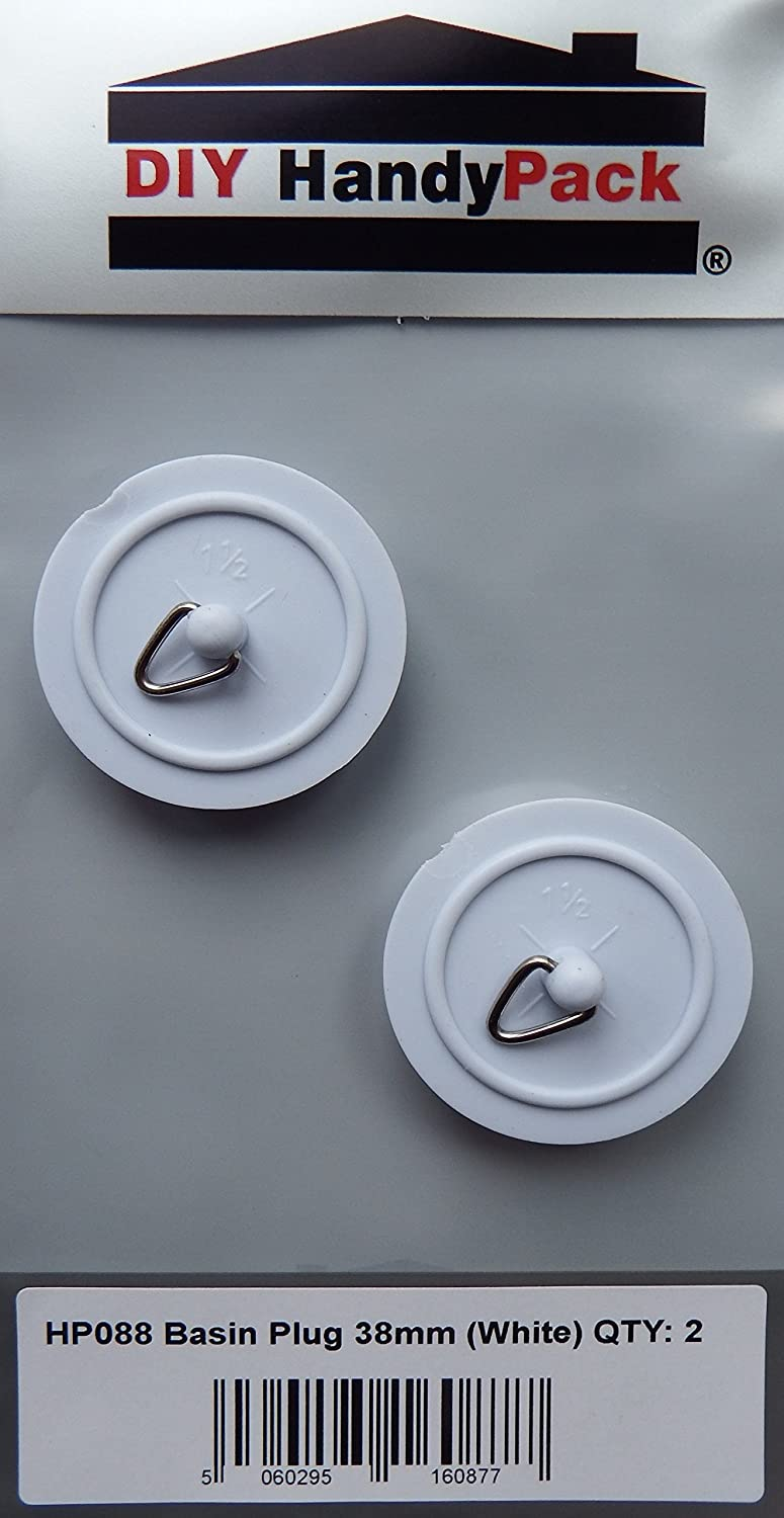 DIY HandyPack - Basin Plug 38mm White (Pack 2) DIY Trade Supplies