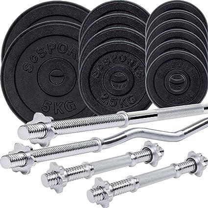 Juego de pesas, discos de pesas de ScSPORTS, de 48 kg, barra de
