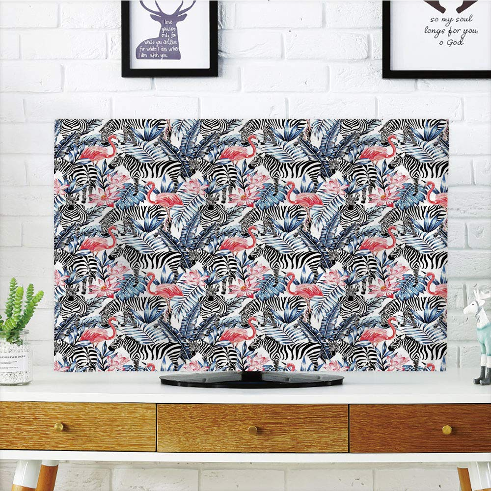 iPrint LCD TV dust Cover,Watercolor,Exotic Flamingo Zebras and Flowers Tropic Animals Abstract Illustration,Blue Black Coral,3D Print Design Compatible 70'' TV
