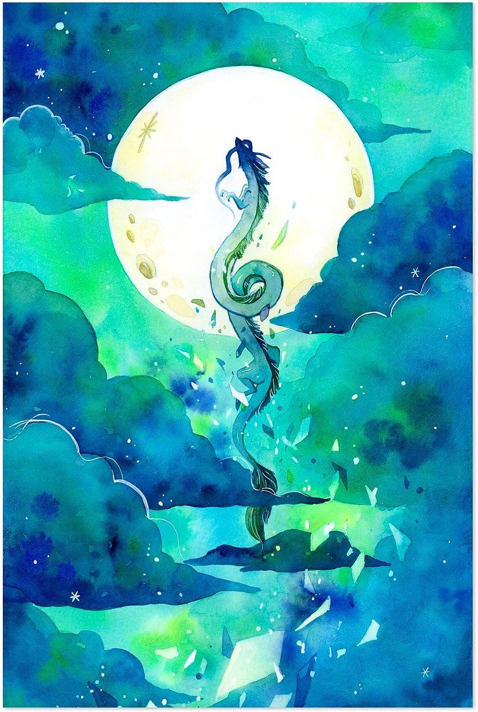 Amazon Com Noir Gallery Flying Dragon Haku Spirited Away 5 X 7 Unframed Art Print Poster Posters Prints