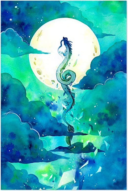 Amazon Com Noir Gallery Flying Dragon Haku Spirited Away 5 X 7 Unframed Art Print Poster Posters Prints