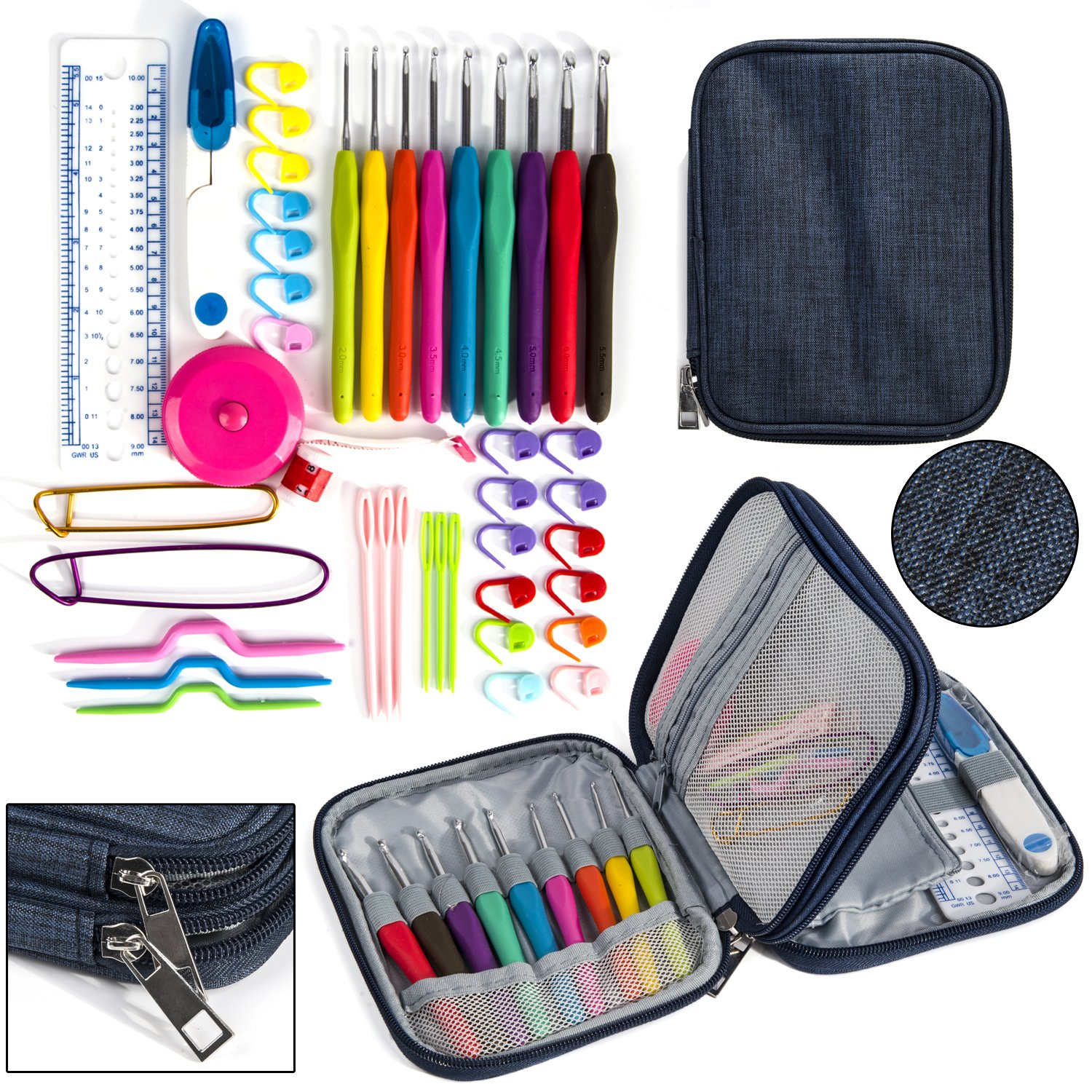 Crochet Hook Case, Organizer Zipper Bag with Web Pockets for Various Crochet Needles and Knitting Accessories