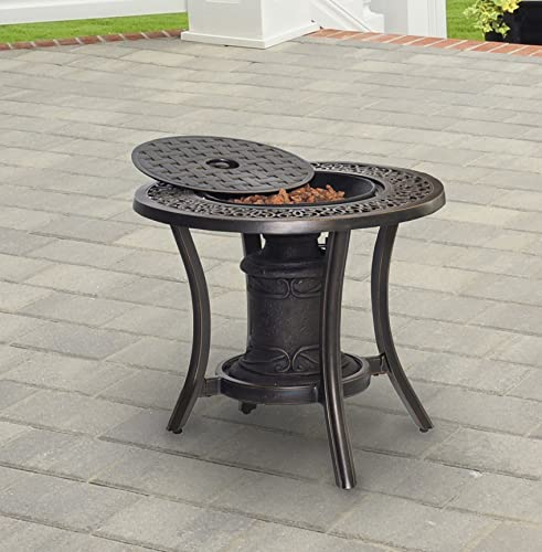 Hanover TRADFIREURN 10,000 BTU Fire Pit Side Table Outdoor Furniture, Bronze