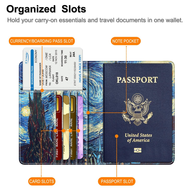 Carte dembarquement Fintie Porte-Passeport Housse Voyage Protecteur Portefeuille Pochette /étui de Protection pour Passeport Carte didentit Marron fonc/é