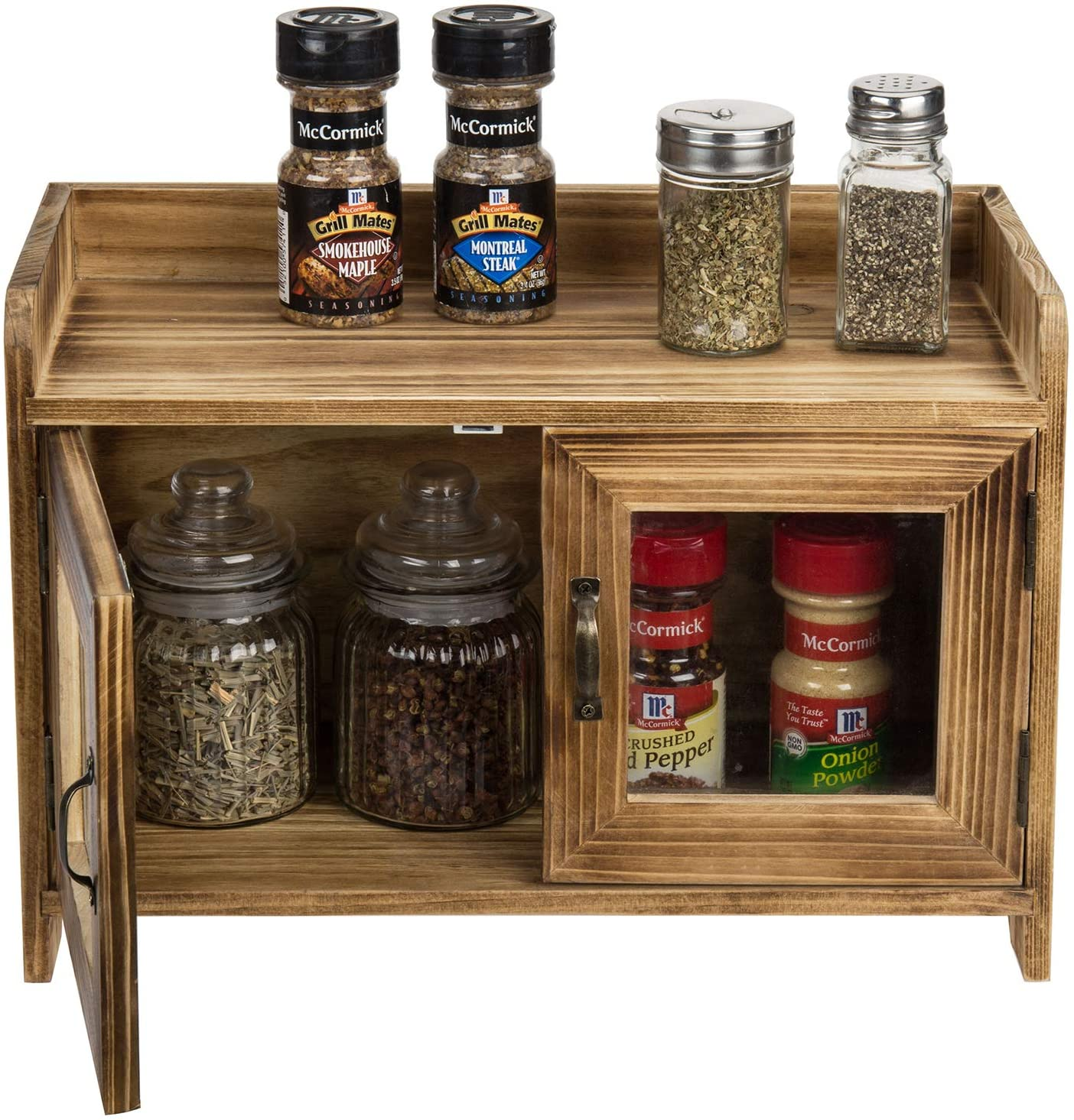 MyGift Rustic Dark Brown Wood Kitchen/Bathroom Counter Top Storage Cabinet with Glass Windows