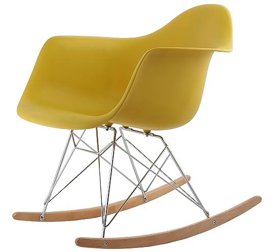 Hnnhome Chaise À Bascule Rétro Inspirée De Eames – Jaune Moutarde