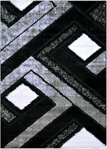 Royal Collection Shag Area Rug Abstract Square Design Polyester Shaggy Rug Grey Black