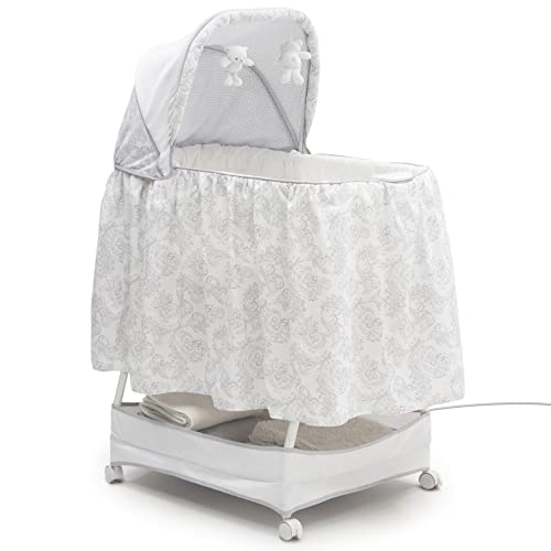 Simmons Kids Classic Hands-Free Auto-Glide Bedside Bassinet – Portable Crib Features Silent, Smooth Gliding Motion That Soothes Baby, Emerson
