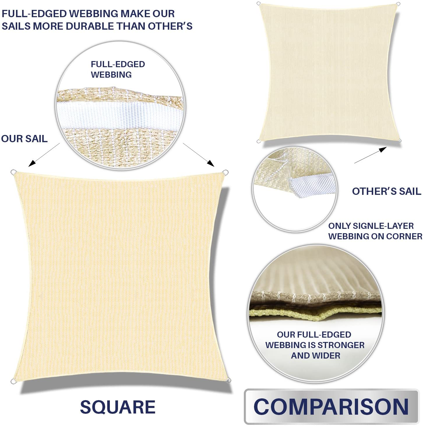 Custom Windscreen4less Sun Shade Sail for Outdoor Patio Backyard UV Block Awning with Steel D-Rings 10ft x 10ft Beige Sand Square