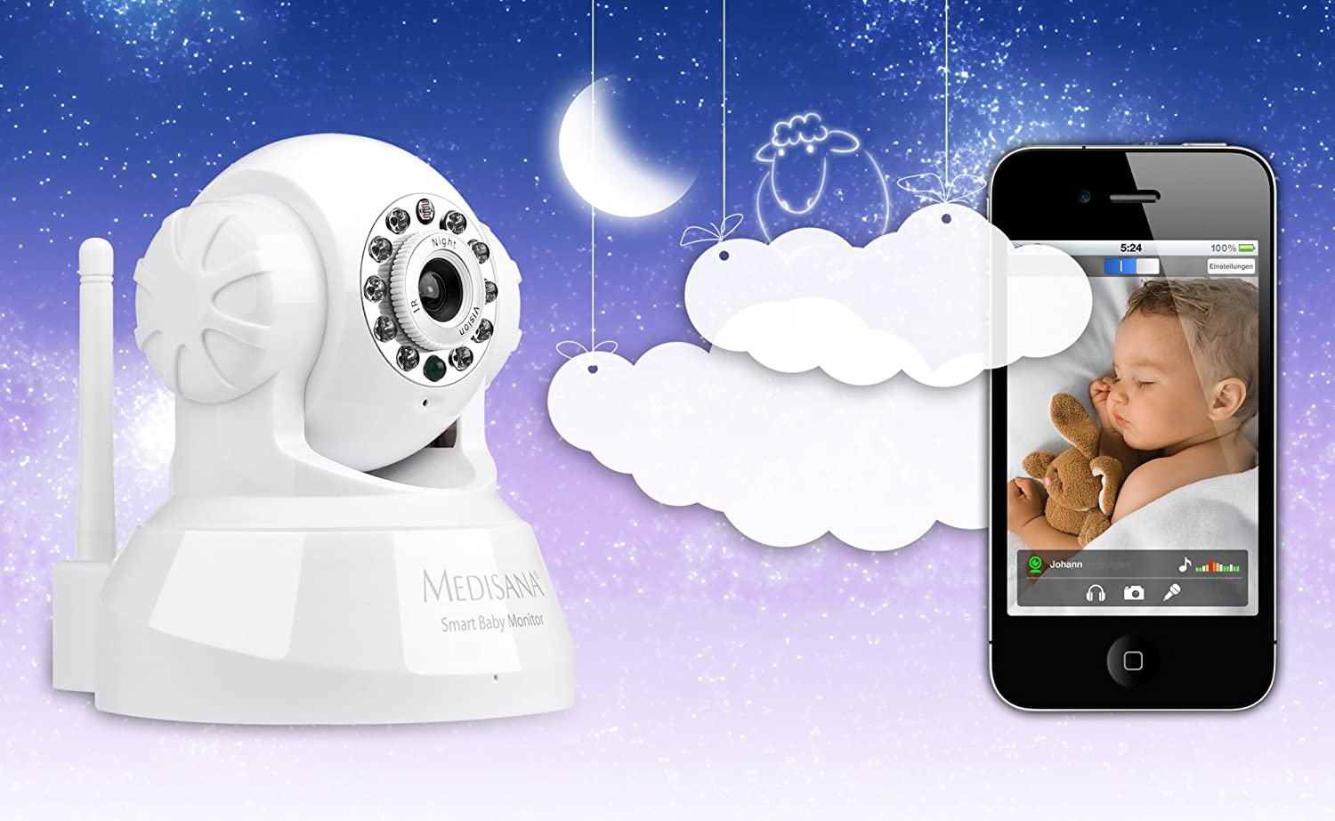 Android Téléphones Portables Ipad Medisana Smart Baby Monitor-Fonctionne Avec Iphone PC MAC
