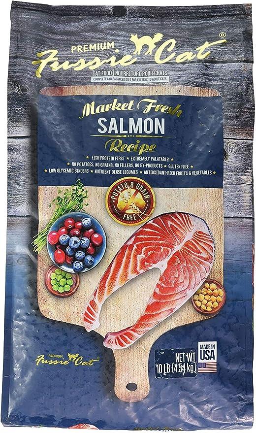 Amazon Com Fussie Cat Dry Cat Food Market Fresh Salmon Recipe 1 Pack 10 Lb Bag Fast Delivery By Just Jak S Pet Market Pet Supplies