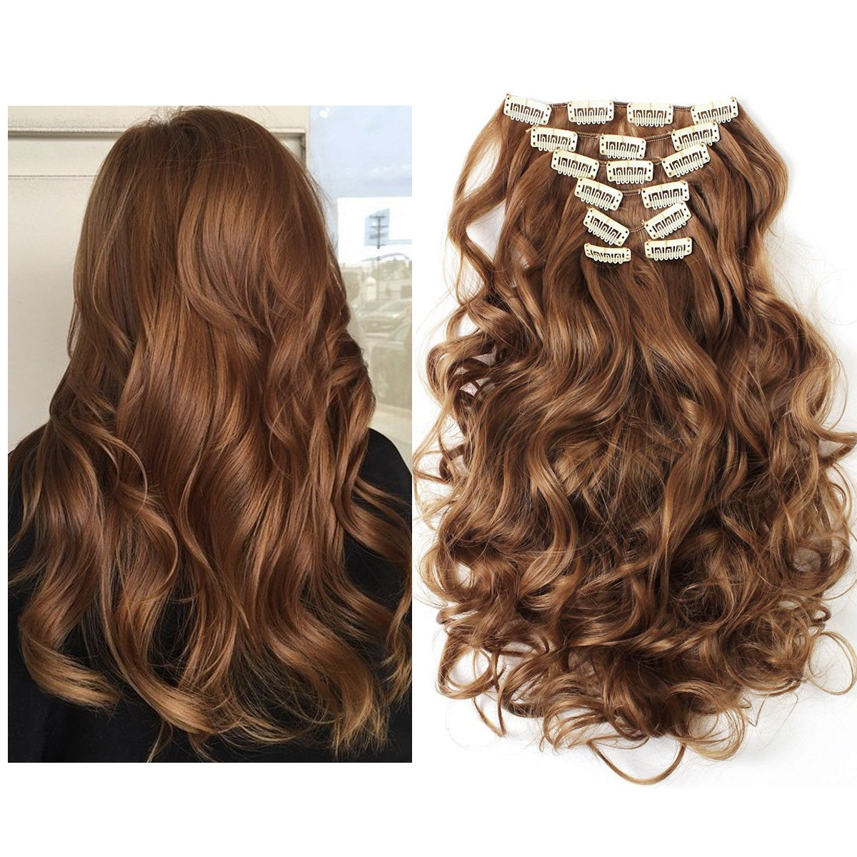 Amazon Copper Synthetic Hair Extensions Clip In Silky Curly