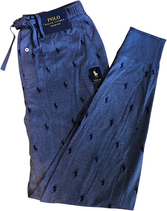 Pants Blue Pajama 100Cotton Jogger Pony Ralph Allover Polo Lauren 08nvNwm