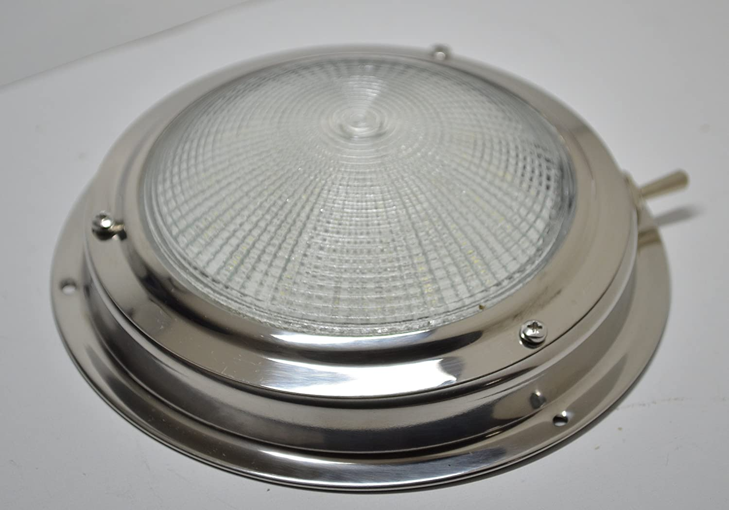 SeaLux Marine Stainless Steel 4 LED Dome Light 5-1//2 base for Boat RV