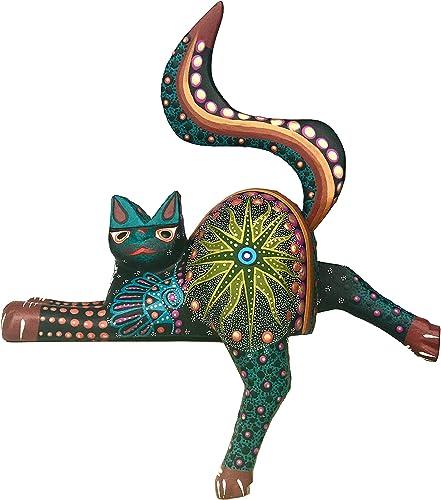 Mexican Alebrije Cat Wood Carving Handcrafted Shelf Sitter Sculpture Black