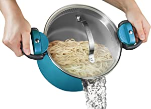 Gotham Steel Ocean Blue 5 Quart Multipurpose Pasta Pot with Strainer Lid & Twist & Lock Handles, Nonstick Ceramic Surface for Effortless Cleanup with Glass Lid, Dishwasher Safe, PFOA Free