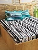 Story@Home 100% Cotton Double Bedsheet With 2 Pillow Covers Combo Set, Mercerized Finish - Metro Series, 186 TC, Geometric Stripes (Black & Blue)