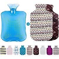 Omasi Bouillotte,bouteille d'eau chaude douce,PVC Caoutchouc Design,avec Peluche Housse 2 pcs de amovible et lavable ,Soulager les douleurs
