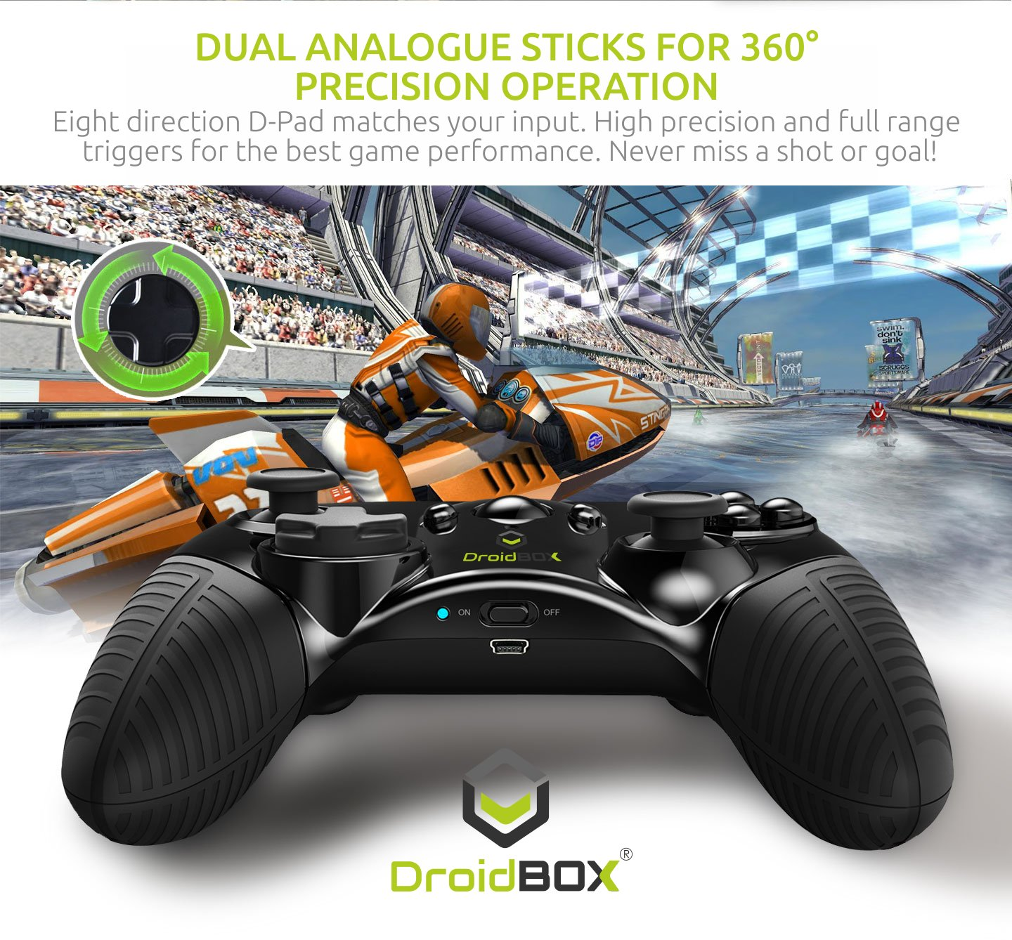 DroidBOX Play Gamepad - Bluetooth 3.0, batería de ion de litio recargable para Android y PC. Juegos y Emuladores con Dual Sticks, D-pad y 12 botones: ...