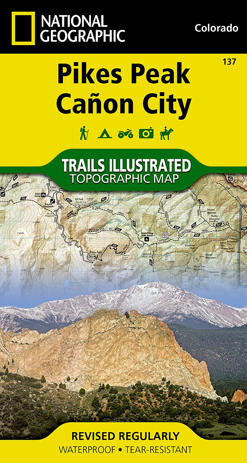 Garden Of The Gods Colorado Map.Pikes Peak Canon City National Geographic Trails Illustrated Map