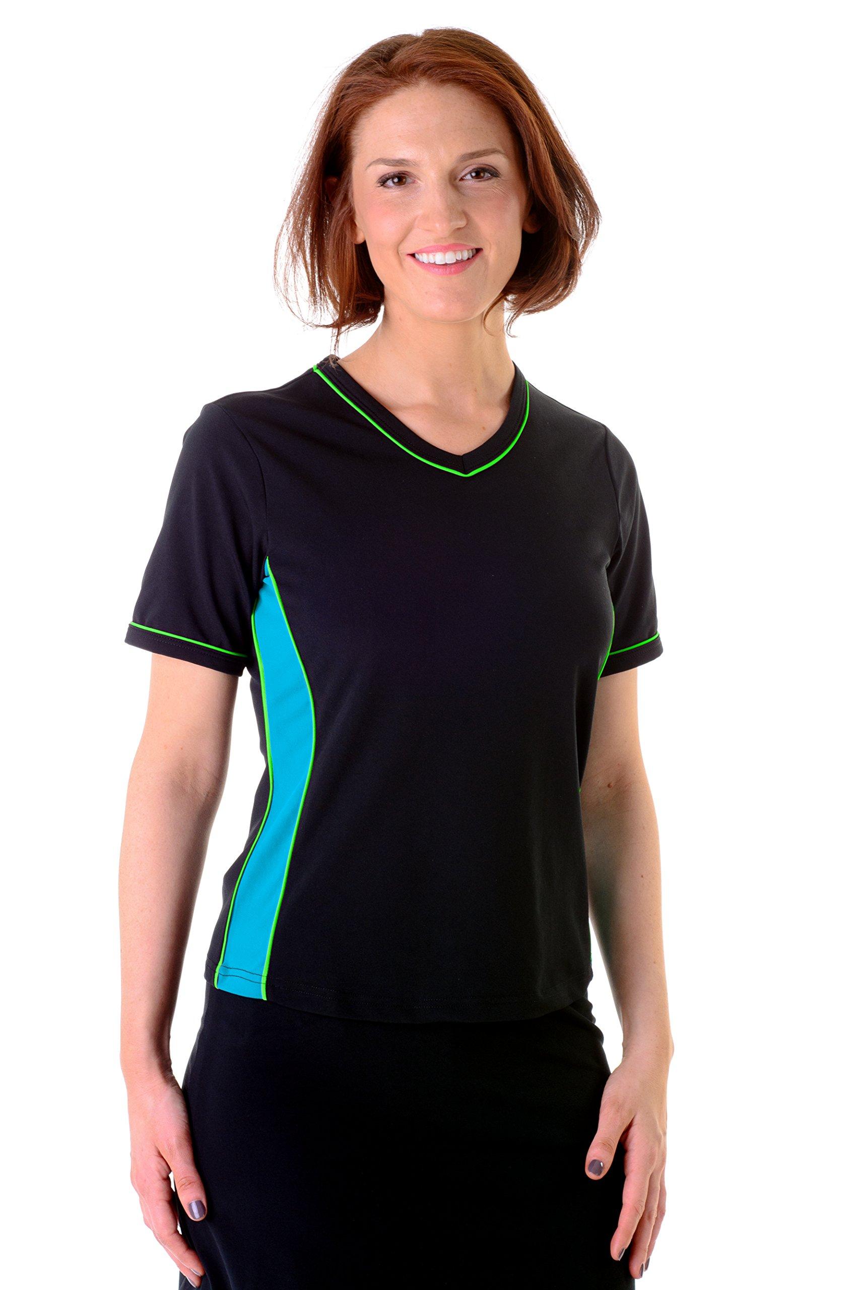 HydroChic Women's Plus Size V-Neck Swim Shirt – Chlorine Proof Rash Guard - Black/Sea Blue/Lime Green, 2X by HydroChic (Image #1)