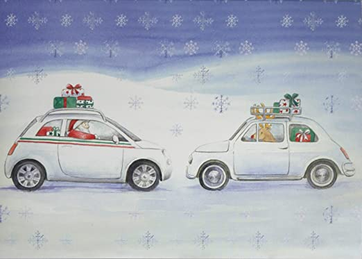 4c83943ac Fiat 500 inspired Christmas cards pack of 10 single design  Amazon.co.uk   Office Products